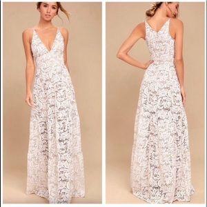 Melina Gold and White Lace Maxi Dress